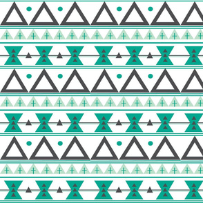 Tribal in Teal, Mint, and Charcoal