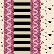 Pink Lace Stripe Border Stars on Cream