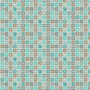 Math symbols blue grey