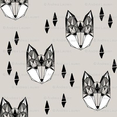 geometric fox head // grey fox fox head kids design cute trendy foxes for kids