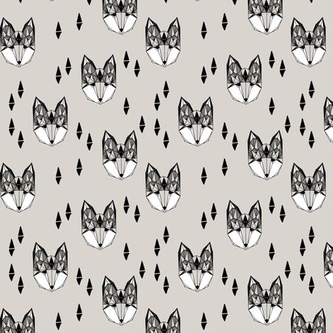 geometric fox head // grey fox fox head kids design cute trendy foxes for kids fabric by andrea_lauren on Spoonflower - custom fabric