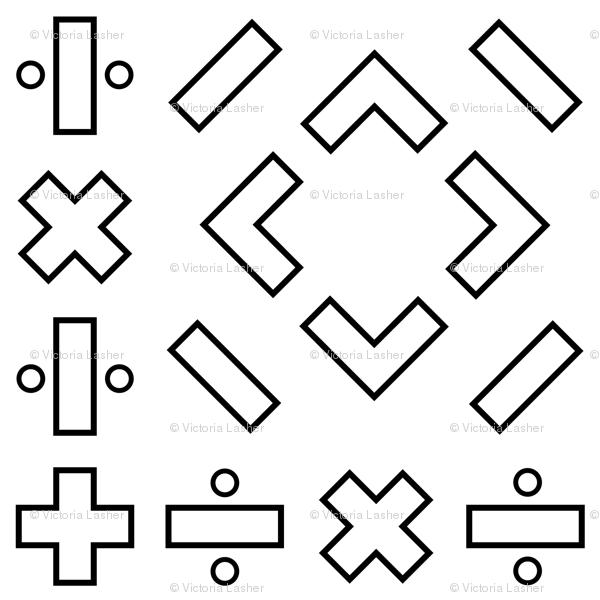 Math Symbols Black On White Wallpaper Victorialasher Spoonflower