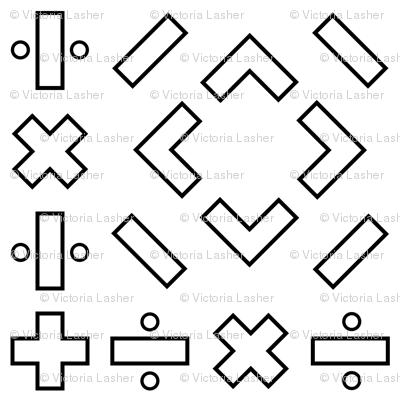 math symbols - black on white fabric - victorialasher ...