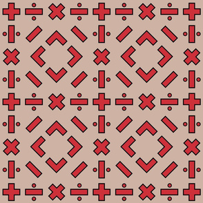 math symbols - black and red on tan