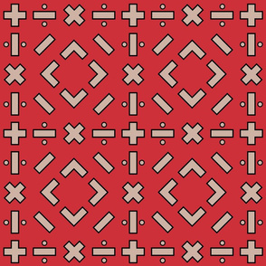 math symbols - black and tan on red