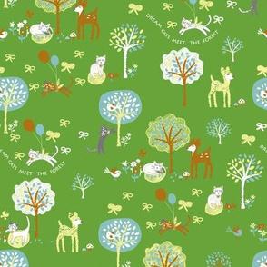 Dream Cats meet the forest -vivid_green