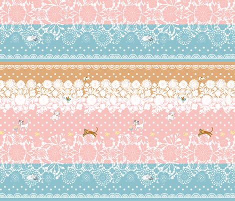 Dream cats -Lace fabric by sindychang on Spoonflower - custom fabric