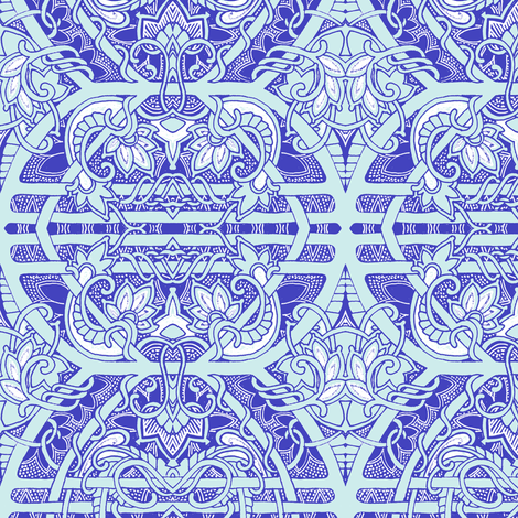 Delft Blue Tendril Tiles fabric by edsel2084 on Spoonflower - custom fabric