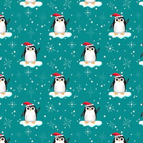 Floating Santa Penguins