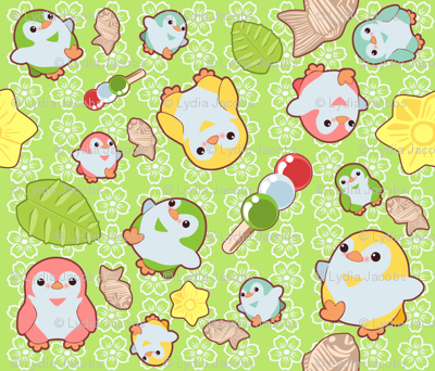 Kawaii Penguins and Wagashi on Green