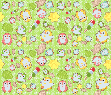 Kawaii Penguins and Wagashi on Green fabric by lyddiedoodles on Spoonflower - custom fabric