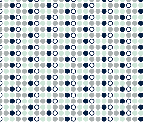 Polka Dots // Northern Lights - grey/mint/navy fabric by littlearrowdesign on Spoonflower - custom fabric