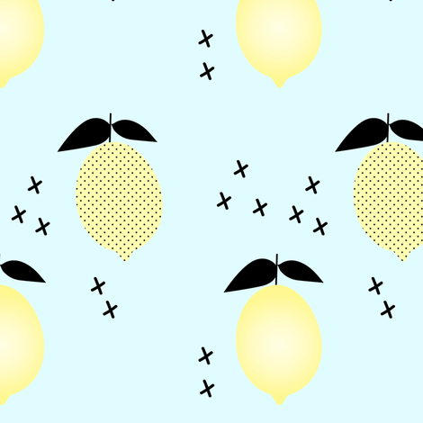 Lemons // blue fabric by littlearrowdesign on Spoonflower - custom fabric