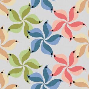 birds of a flower swirl in the bower