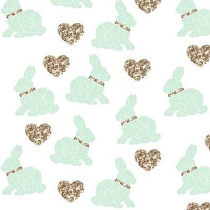 mint bunny gold hearts