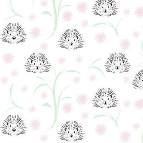 Hedgehogs and flowers pink