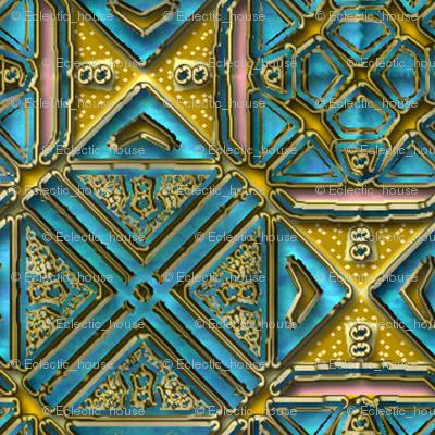 Blue and Fake gold tile shimmer