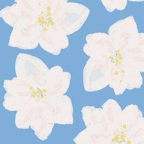 Watercolor Magnolias in Carolina Blue