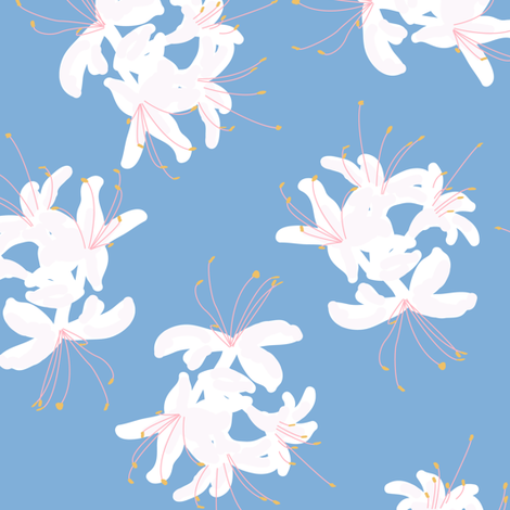 Honeysuckle Bouquet in Carolina Blue fabric by elliottdesignfactory on Spoonflower - custom fabric