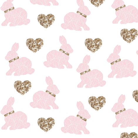 pink bunny gold hearts fabric by miamea on Spoonflower - custom fabric