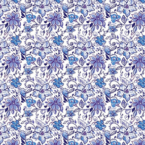 tossed whimsical blue flowers