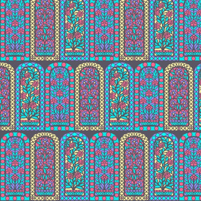 Pastel India Floral Stained Glass Windows