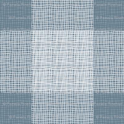gingham mesh white on blue