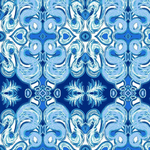 Winter damask blue