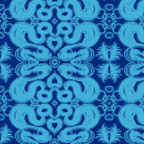 Two Blue Damask