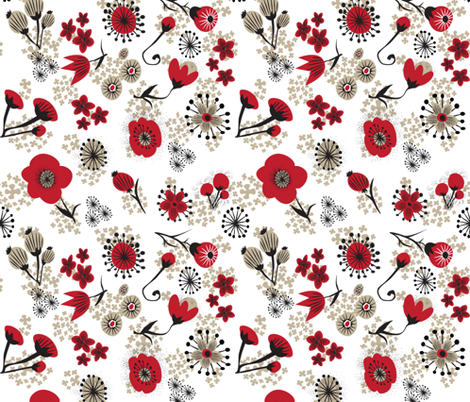 Red Poppies on white fabric by alannah_brid on Spoonflower - custom fabric