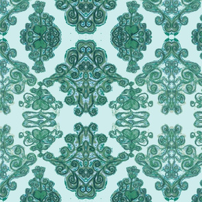 Oil pastel damask sea green