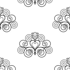 Girly spiral damask