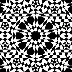 decagon stars : black and white