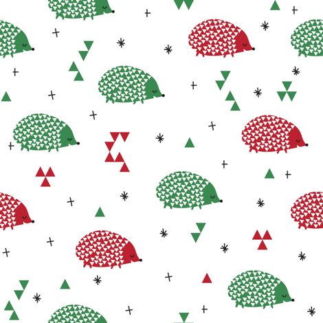 christmas hedgehogs fabric by laurawrightstudio on Spoonflower - custom fabric