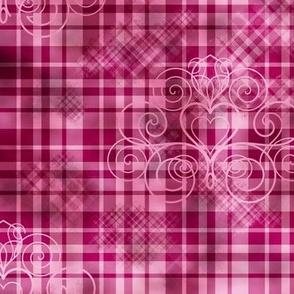 Pink gingham grunge damask