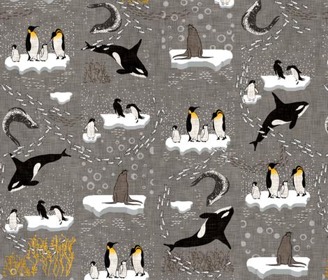 Antics In Antartica (grey) fabric by nouveau_bohemian on Spoonflower - custom fabric