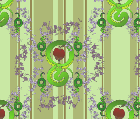 Serpents in the Garden - green fabric by leems on Spoonflower - custom fabric