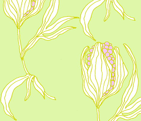 Grass Flower Big_light fabric by susanna_sinivirta on Spoonflower - custom fabric
