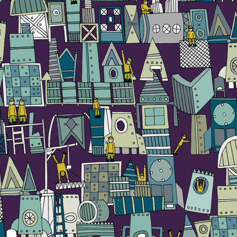 space rocket construction fabric by scrummy on Spoonflower - custom fabric