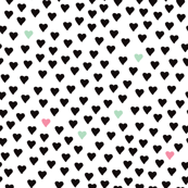 Abstract scandinavian style pastel black and white hearts love print for Valentine