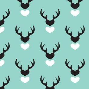 Cute blue scandinavian woodland deer antlers and hearts Valentine love pattern