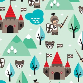 Knight sword and castle woodland illustration with grizzly bearspattern
