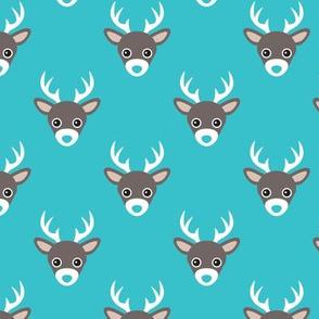 Cute retro blue scandinavian woodland deer antlers pattern