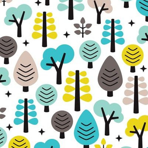 Colorful retro woodland trees cute scandinavian forest illustration pattern