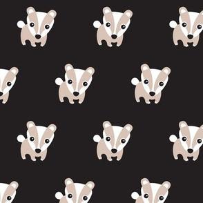 Cute retro black scandinavian woodland skunk raccoon illustration pattern