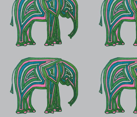 Baby Elephant - Pink, Green & Blue fabric by quintessential_fine_art_fabrics on Spoonflower - custom fabric