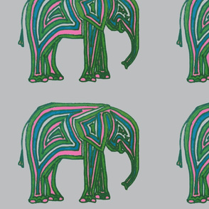 Baby Elephant - Pink, Green & Blue