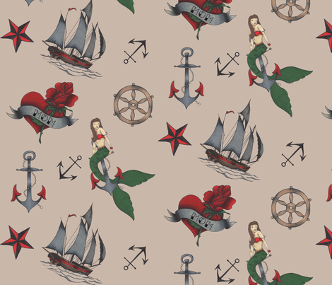 Classic Sailor Tattoos Fabric Wallpaper Bellamodiste