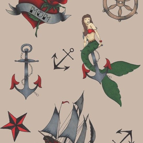 Classic Sailor Tattoos Fabric