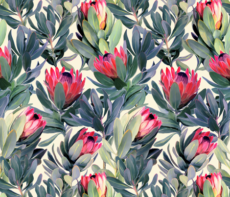 Painted Protea Floral fabric by micklyn on Spoonflower - custom fabric